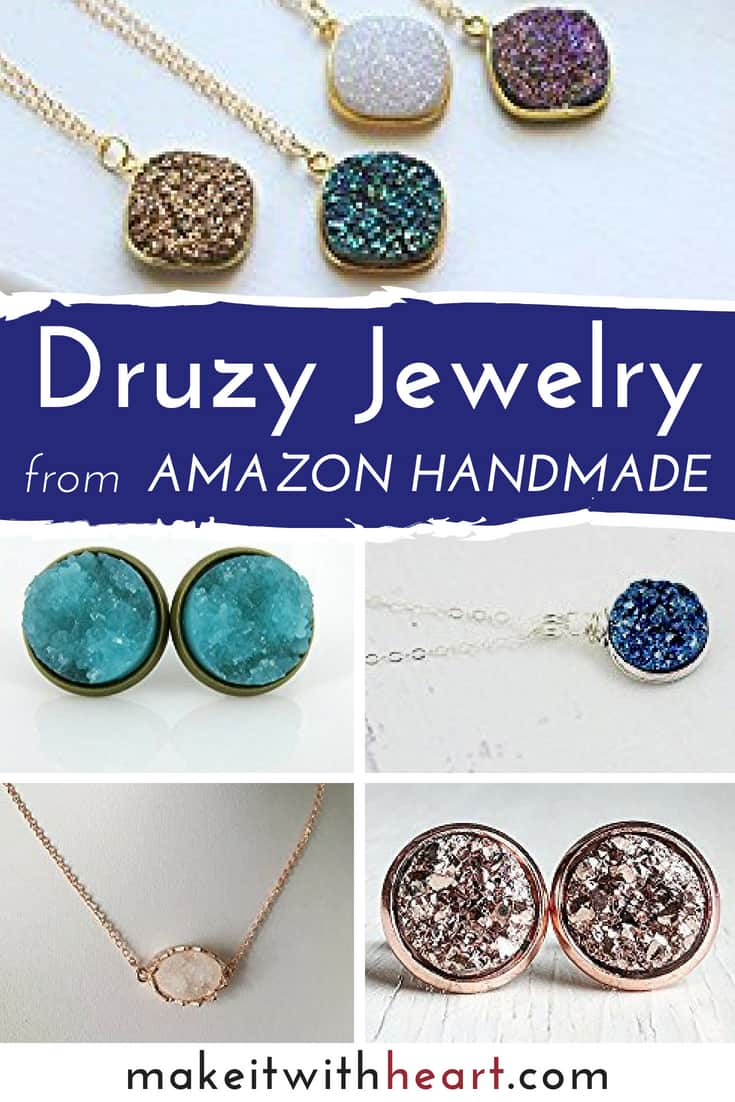 The best handmade druzy jewelry on Amazon, including earrings, necklaces, and pendants. Plus, a few links to helpful tutorials for DIY druzy jewelry if you prefer to make your own!