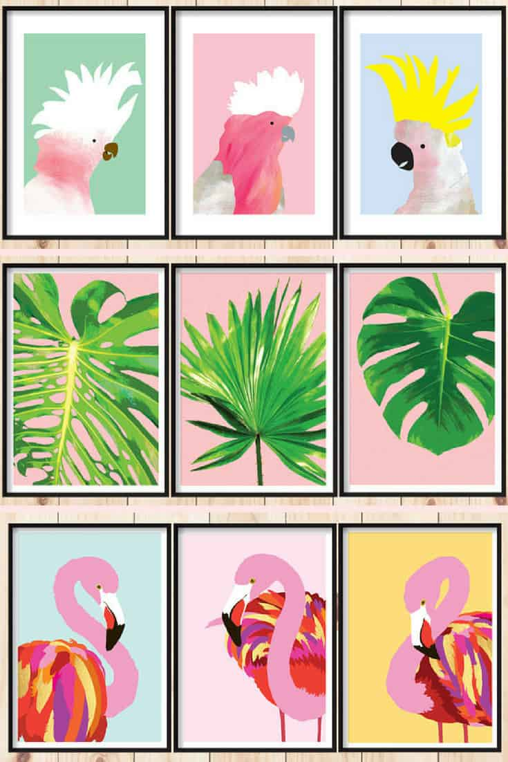 Tropical Printable Artwork Sets by DesignMondo #etsy #tropical #printableart #artprints
