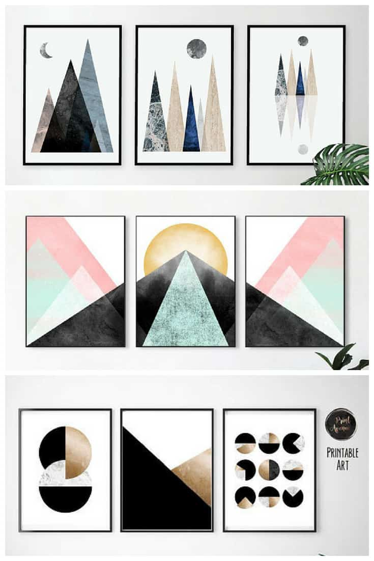 Geometric Art Sets of 3 from Etsy #printableart #etsy #wallart