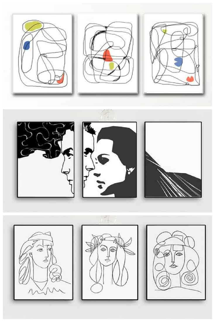Picasso Style Printable Art Sets by Vivid Pictures #etsy #printableart #wallart #picasso
