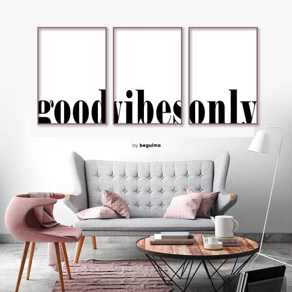 Good Vibes Only Printable Wall Art by Beguima Studio #etsy #quotes #printableart