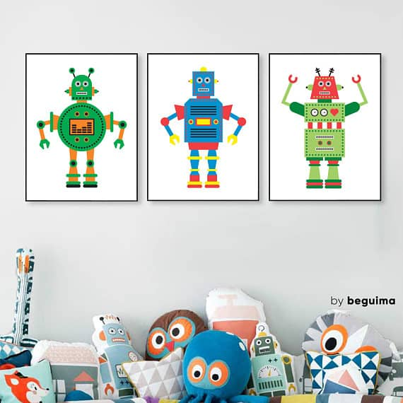Robot Poster Set of 3 by Beguima Studio #etsy #printableart #wallart
