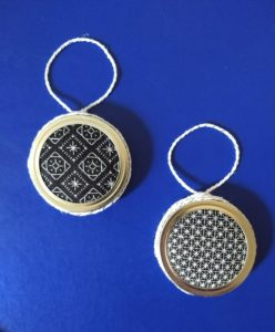 Mason Jar Lid Ornaments with Simple Embroidery